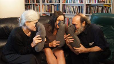 Laura Worth, Shawn Denae Eddy, Robert Bornn with the AromaChill relaxation system.